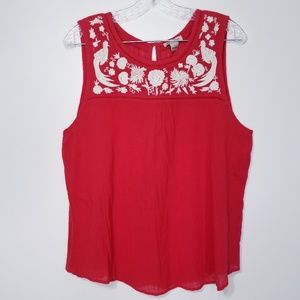 Lucky brand floral Embroidered Sleeveless top L